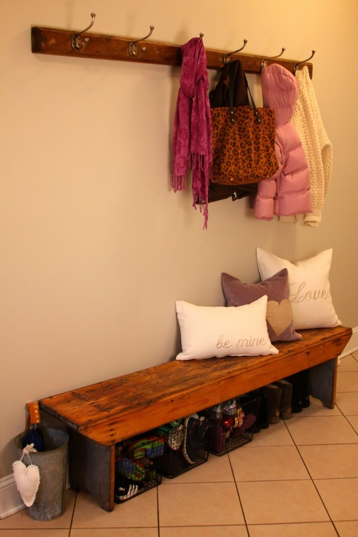 Entryway bench home pinterest coat hooks entryway Mudroom bench and hooks