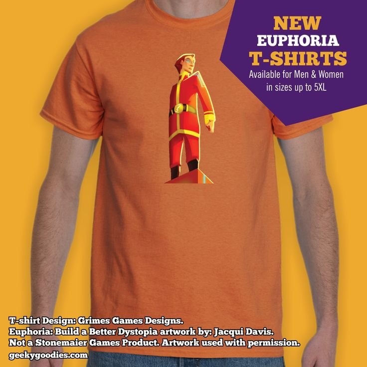 Time to Build a Better Dystopia with our NEW Euphoria T-shirts at GeekyGoodies.com!  Check them out at: https://www.geekygoodies.com/euphoria  Not a Stonemaier Games Product. Artwork used with permission. #BoardGames #Stonemaier #StonemaierGames #BoardGameTshirt #GeekyGoodies