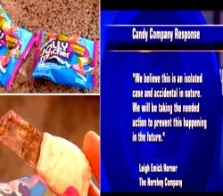 What would you do if you discovered your bag of favorite candies contains a razor blade? Well, this is exactly what happened to Amy Hu, a mother of two kids who is thanking God that it was her who first discovered the shank from her recently purchased bag of Hershey's Jolly Rancher Crunch 'N Chew Candy before her kids!! Here's the full story http://www.ifood.tv/photo/rusty-blade-in-jolly-ranchers-bag-hershey-apologizes: Kid