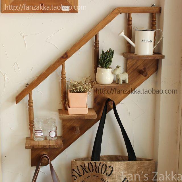Fanu0027szakka Grocery Preferential Old Wooden Logs Hanging Staircase Shaped  Display Rack Shelf Storage
