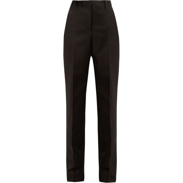 Maison Margiela High-rise straight-leg wool trousers (17.206.010 IDR) ❤ liked on Polyvore featuring pants, black, high-waisted trousers, straight leg pants, wool pants, wide leg pants and straight leg trousers