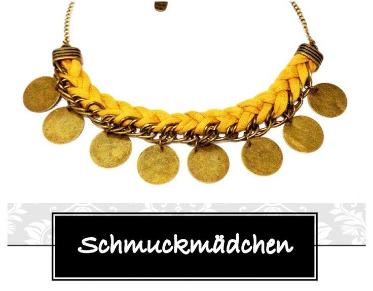 Statement Kette Bronze Gelb von Schmuckmädchen auf DaWanda.com