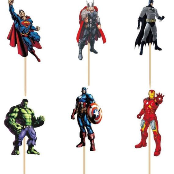 READY TO SHIP Avengers super heros Themed Cupcake Toppers