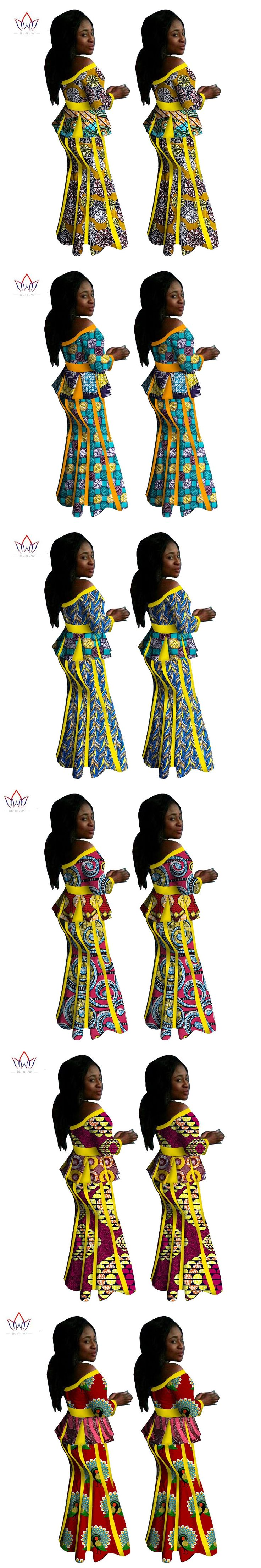 2017 African Elegant Skirt Sets For Women Spring Traditional African 2 Piece Set Plus Size Top skirts African Clothing WY1412
