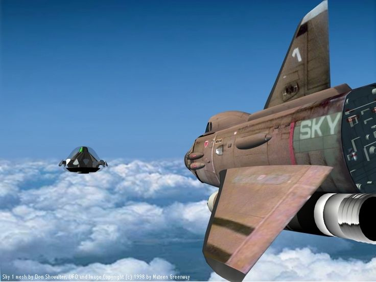"""Modern CG """"remaster"""" of a VFX action shot from the classic Gerry Anderson sci-fi series """"UFO,"""" with Sky One targeting one of the alien invaders."""