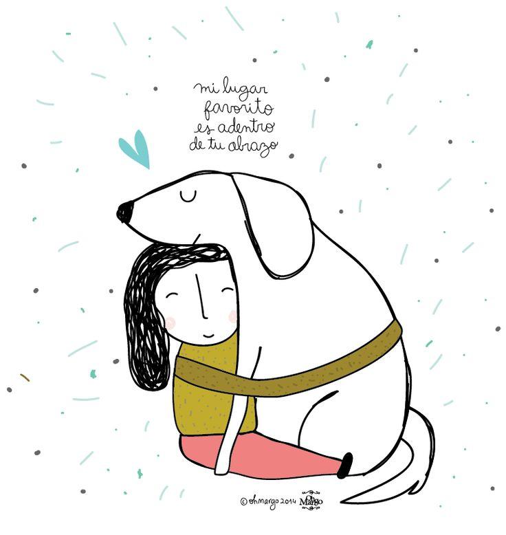 Mi lugar favorito es dentro de tu abrazo #perros #frases #animales