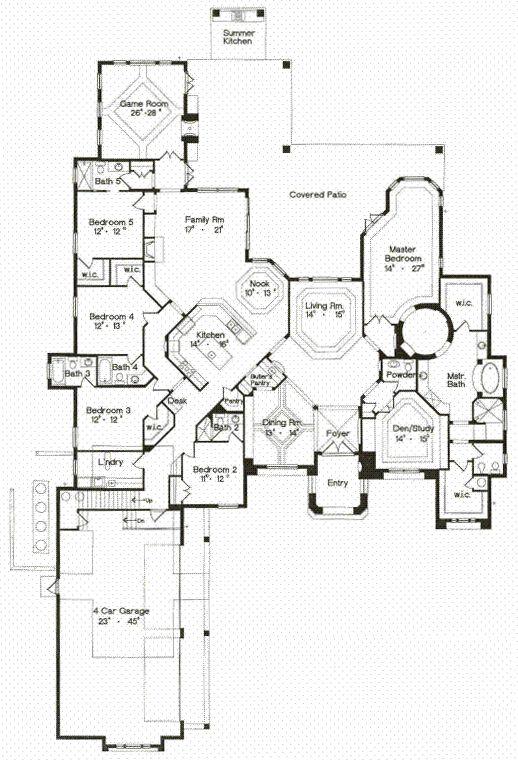 First Floor Plan of Florida   Mediterranean   House Plan 64725