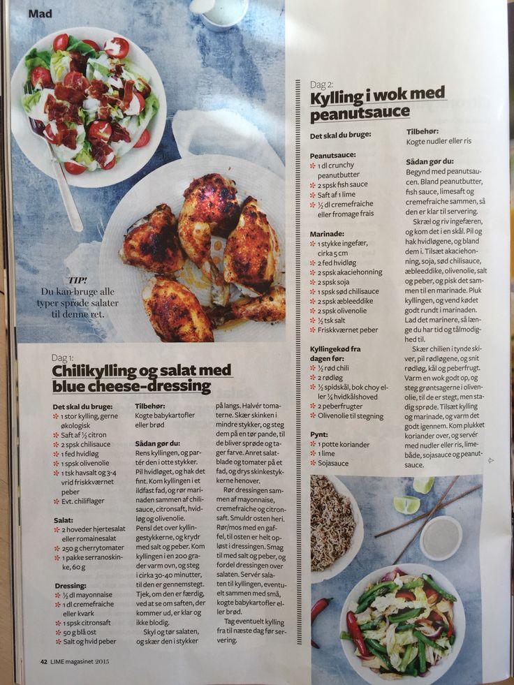 Dag 1: Chilikylling Dag 2: kylling i wok med peanutsauce