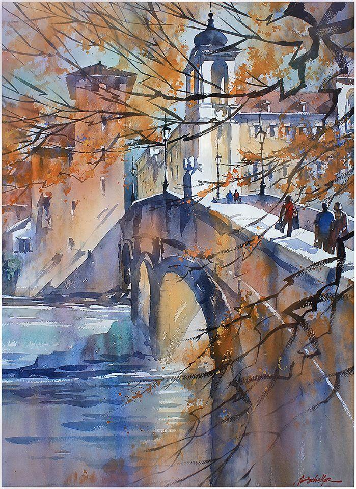 """ponte fabricio - rome"" thomas w schaller watercolor 30x22 inches 12 october 2013"