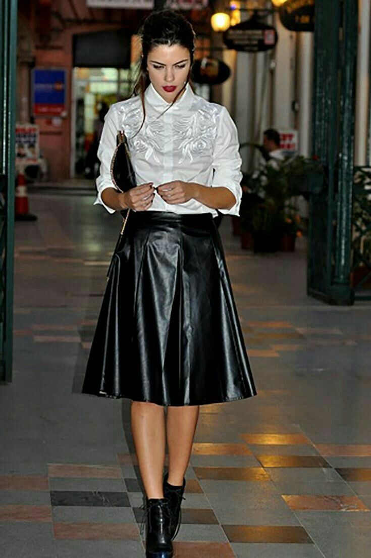 5482b0240 Gorgeous flared black leather midi skirt and ankle boots | Leather ...