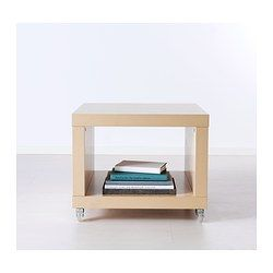 IKEA - LACK, Side table on casters, birch effect, , Includes casters, making it easy to move.One open compartment for magazines and remote controls, etc. helps you keep your things organized and the table top clear.