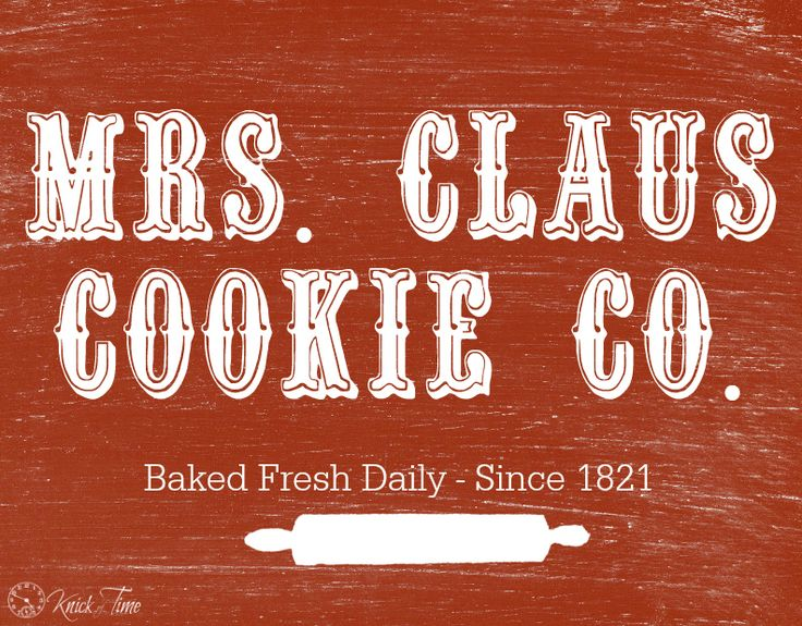 Free Printable Mrs. Claus Chalkboard Christmas Sign from KnickofTime.net