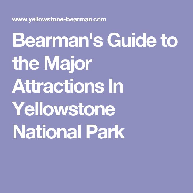 Bearman's Guide to the Major Attractions In Yellowstone National Park