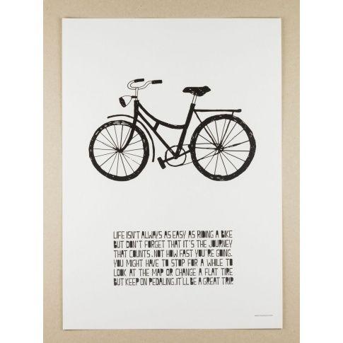 Plakat A3 Life Poster Bike - MagiaPolnocy.pl sklep w stylu skandynawskim. #muumuru