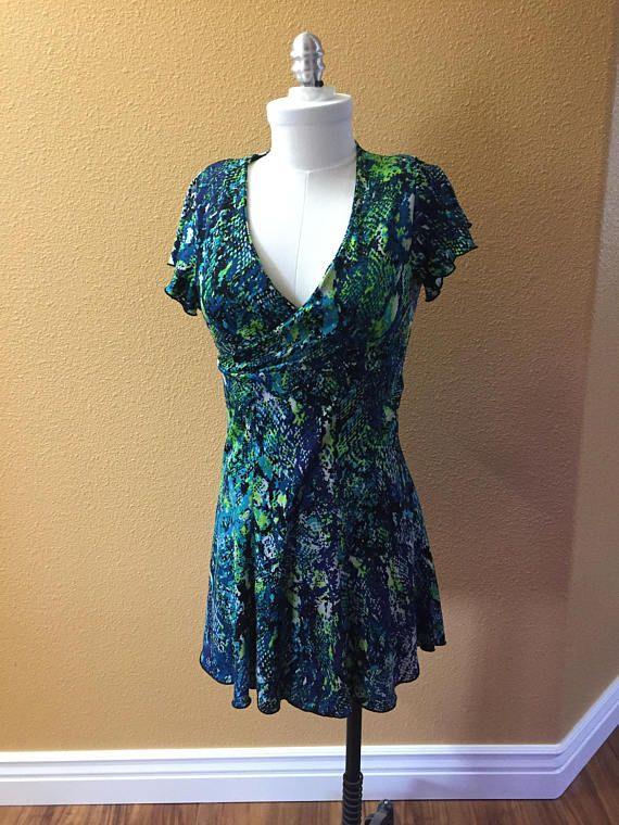 Vestido de diseñador original verde de neón azul pequeño - previamente gastadas