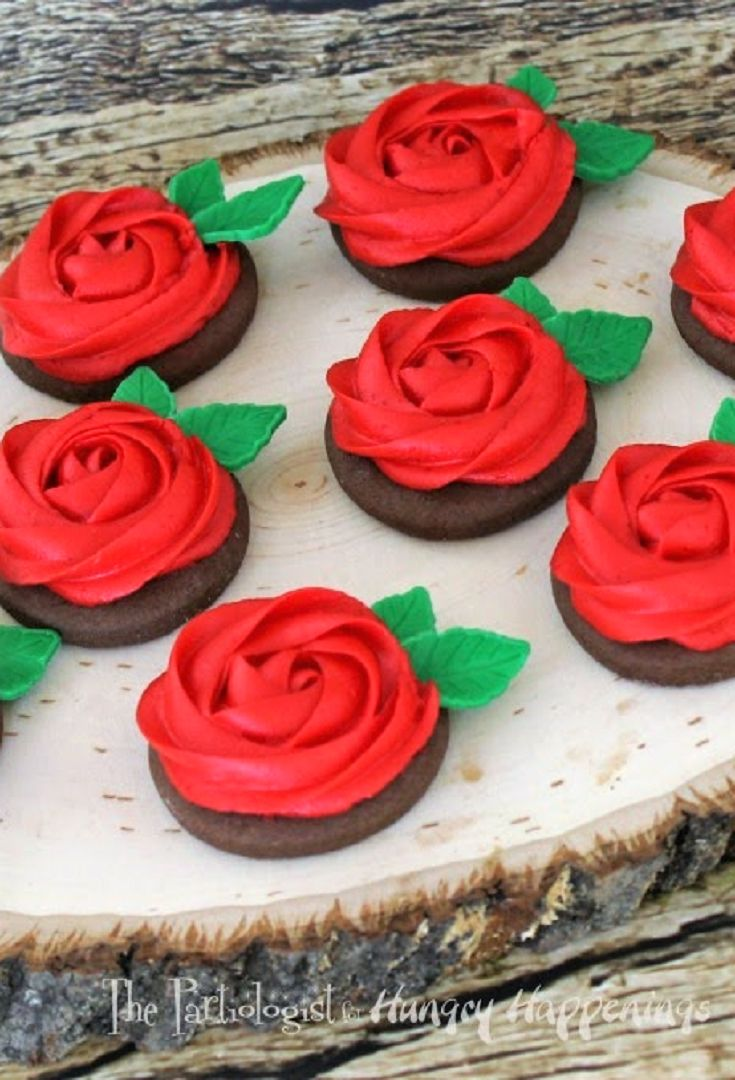 Buttercream Rose Cookies are pretty and sweet for your Valentine