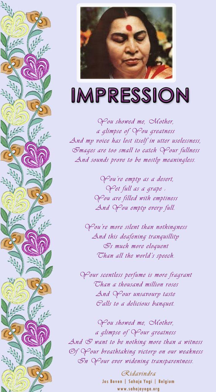 Impresion - poem by Ridavindra Jos Boven   Sahaja Yogi   Belgium www.sahajayoga.org
