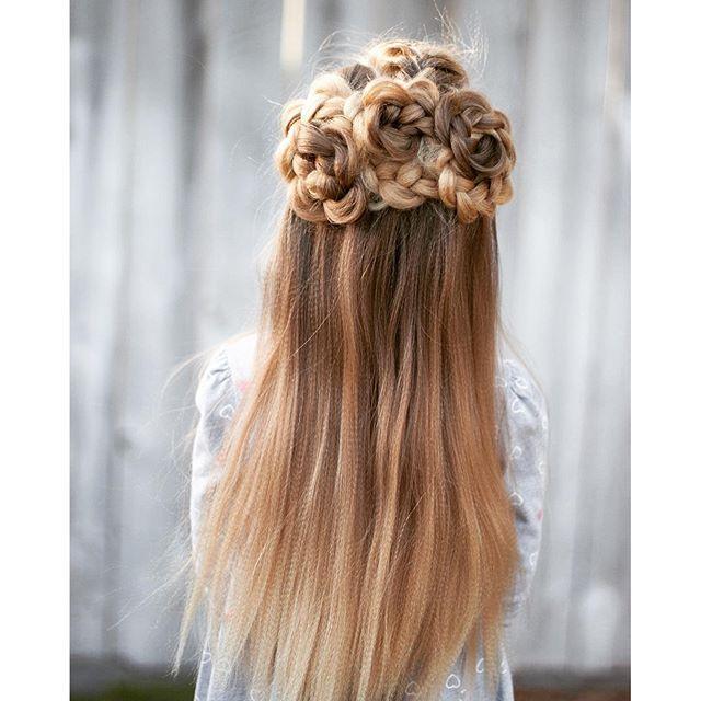 Flower braided half updo