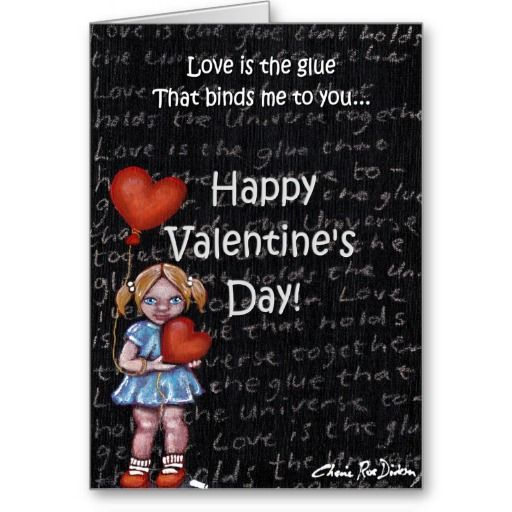 Love is the Glue Girl — Happy Valentine's Day Greeting Card #valentinesday #love
