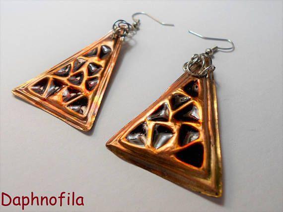 Copper triangle earrings Colorful copper earrings Jewelry