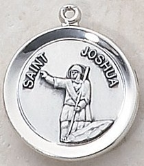 """SAINT JOSHUA MEDAL, Price includes shipping to all fifty states. Solid sterling silver medal, approx. 3/4"""" in circumference. Gift boxed with a complimentary 20"""" stainless steel chain. Carries the Creed lifetime guarantee."""