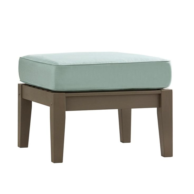 HomeSullivan Verdon Gorge Gray Oiled Wood Outdoor Ottoman with Sunbrella Blue Cushion