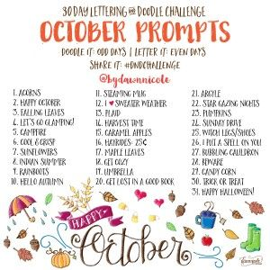 30 Day Lettering and Doodle Challenge: October Prompts by Dawn Nicole #DNDChallenge