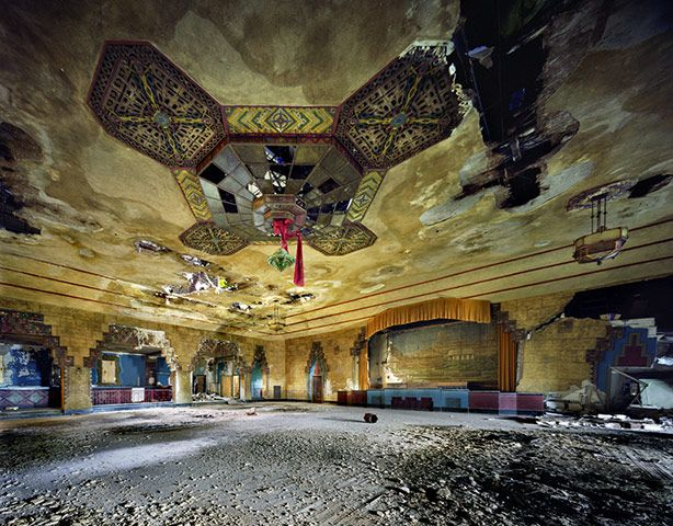 Detroit's Vanity Ballroom with its unsalvaged art deco chandeliers. Duke Ellington and Tommy Dorsey once played here. Photograph: Yves Marchand and Romain Meffre