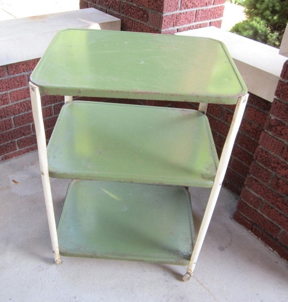 Kitchen Cart Metal Vintage Green With 3 Shelf By Redposie On Etsy