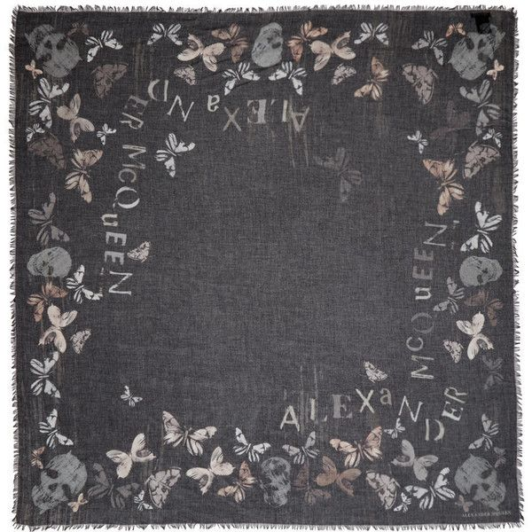Alexander McQueen Black Butterflies Scarf ($405) ❤ liked on Polyvore featuring accessories, scarves, black, square scarves, skull scarves, alexander mcqueen, skull shawl and fringe scarves