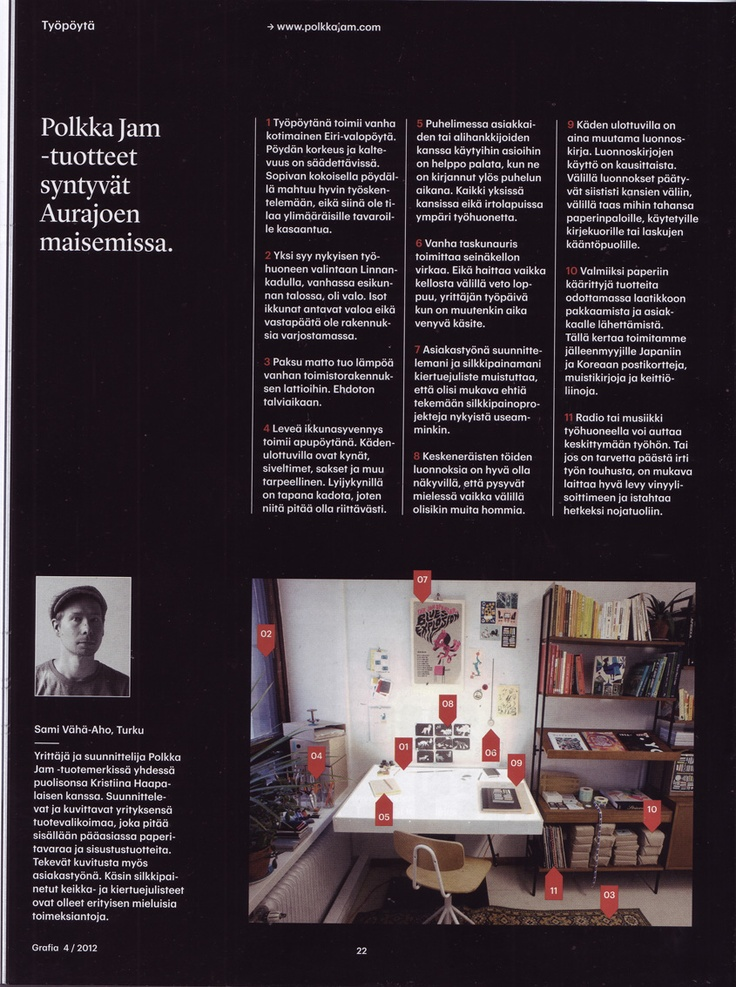 Polkka Jam studio and Sami's desk in Grafia magazine 4/12.