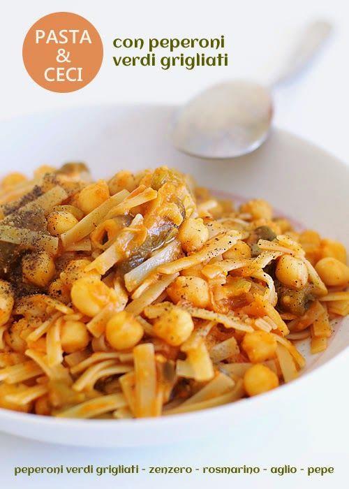 Pasta e ceci, con peperoni verdi grigliati ~ fiordizucca - cibo, ricette, viaggi, travel, recipes, food, italian and international