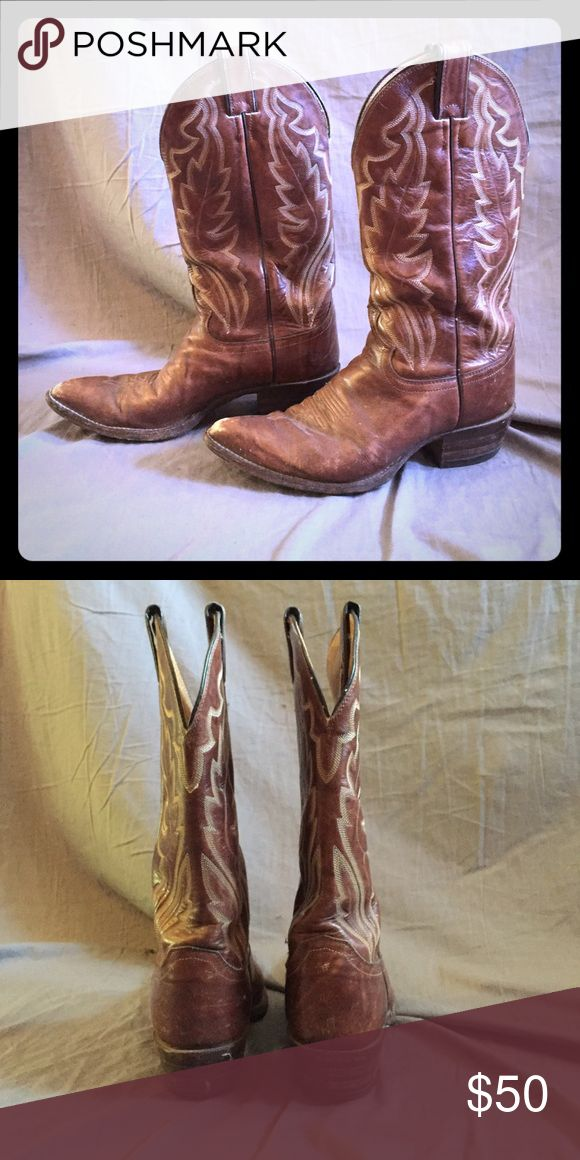 Vintage Justin Boots Brown leather Justin Boots Vintage Justin Boots Shoes Heeled Boots