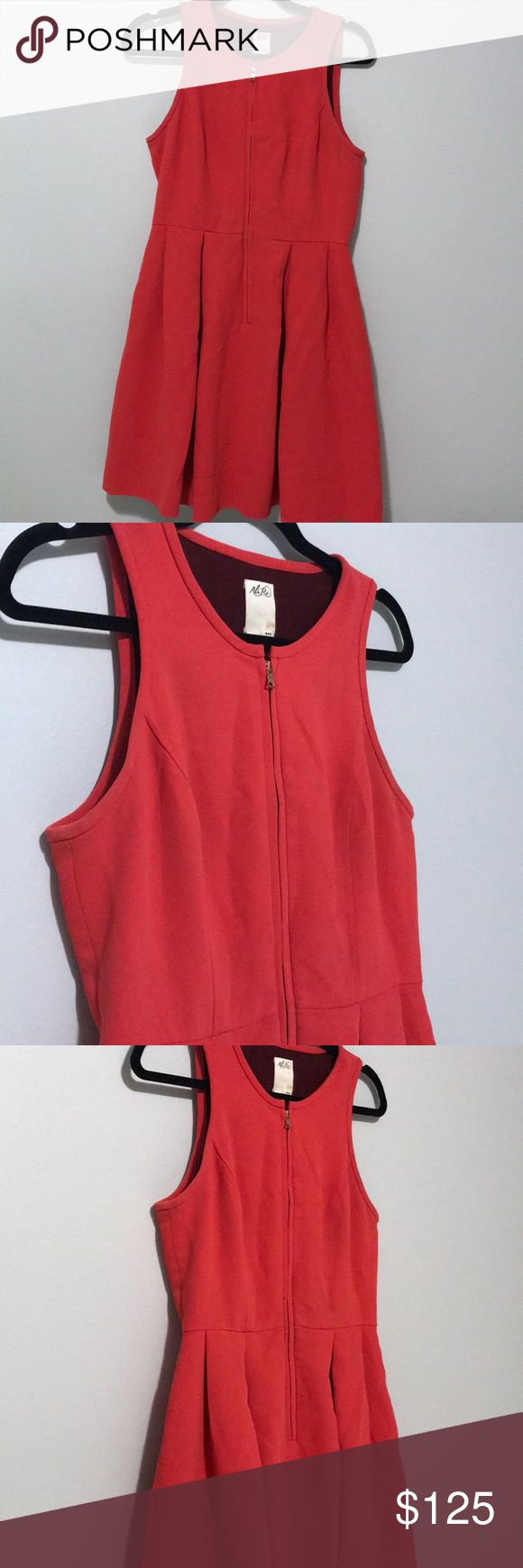 AIi Ro Peplum dress with zipper Bright red (an orangy-red) peplum dress with zipper (unzips all the way down - that's how you put it on!). Really cute on. Ali Ro Dresses Midi