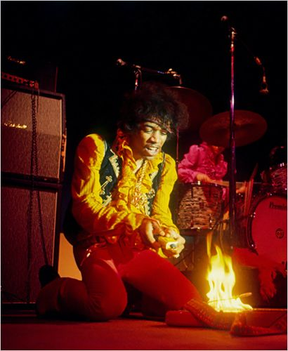 Hendrix performed at the Monterey International Pop Festival on March 31st 1967. For his finale, Jimi Hendrix squirted lighter fluid onto his Stratocaster, smashed it, and set it on fire. Photos taken by Jim Marshall,  made Hendrix an international icon. The photos later made Hendrix's album covers and Rolling Stones put it on the cover for its 20th anniversary issue.