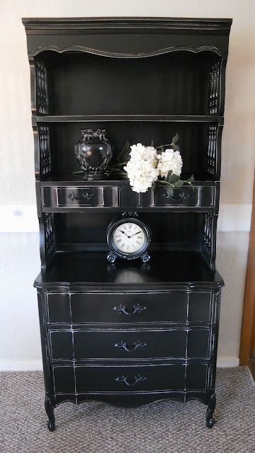 black french provincial | Black Distressed French Provincial Hutch and Dresser | For the Home