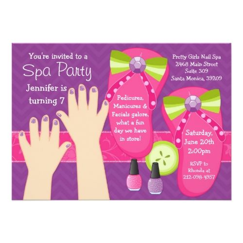 Spa Birthday Party Invitations Mani Pedi Spa Birthday Party Invitation