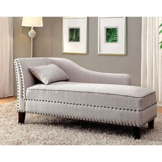 Furniture of america gillian romantic nailhead trim linen for Bay window chaise lounge