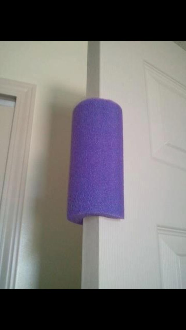 Pool noodle on the door to prevent smashed little fingers!! Great for homes & day cares!!