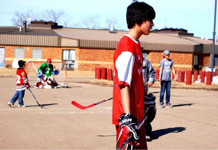 Road hockey at Beardy's Okemasis First Nation, Saskatchewan