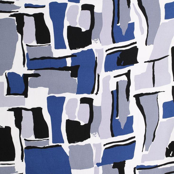 wit satijn katoen met stretch  blauw grijs zwart fantasie geblokt