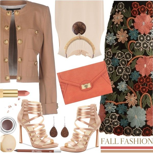 Fall Floral Skirt & Blazer by brendariley-1 on Polyvore featuring moda, Tory Burch, Balmain, RED Valentino, Jessica Simpson, Danielle Nicole, NOVICA, tarte, Yves Saint Laurent and Urban Decay