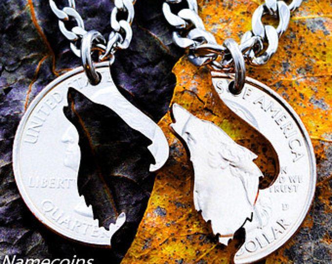 Howling collar de lobo, su y la suya emparejar parejas joyas, moneda del corte de la mano