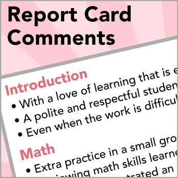 how to write parents comments on report cards