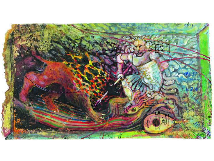 Hassan Musa, le chacal, 2015, gouache et aquarelle sur carte ancienne, 60 x 34 cm