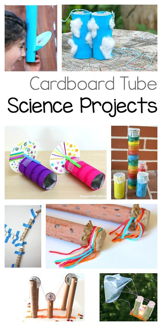 Science Projects for Kids using Cardboard Tubes: STEM / STEAM activities for children made from toilet paper rolls and paper towel rolls! Make kazoos, kaleidoscopes, binoculars, rainsticks, and more!