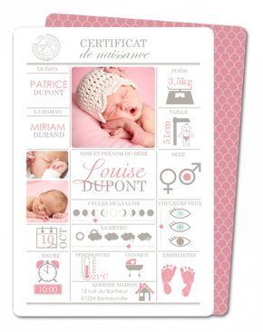 Faire part naissance fille avec ou sans photo à personnaliser │ Planet-Cards.com