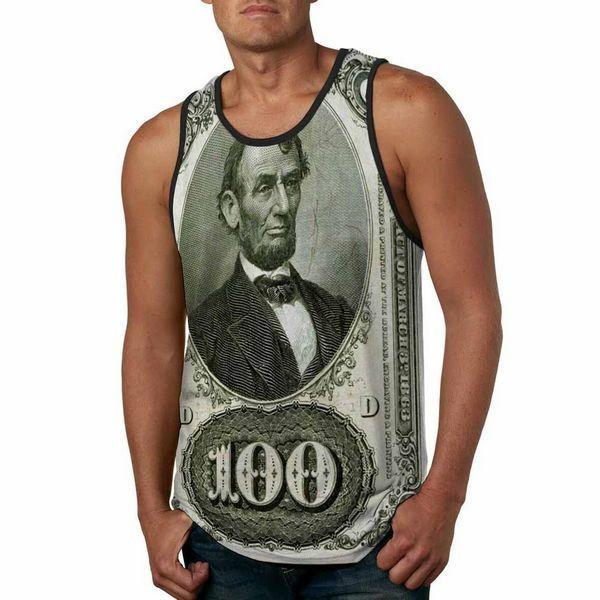 Men Fashion Tank Top 100 Dollars Bank Note Lincoln Green - Anti UV #HoomanDesign #TankTop #USA #fashion #apparel #tshirt #Dollar #money #business #ebay #retro