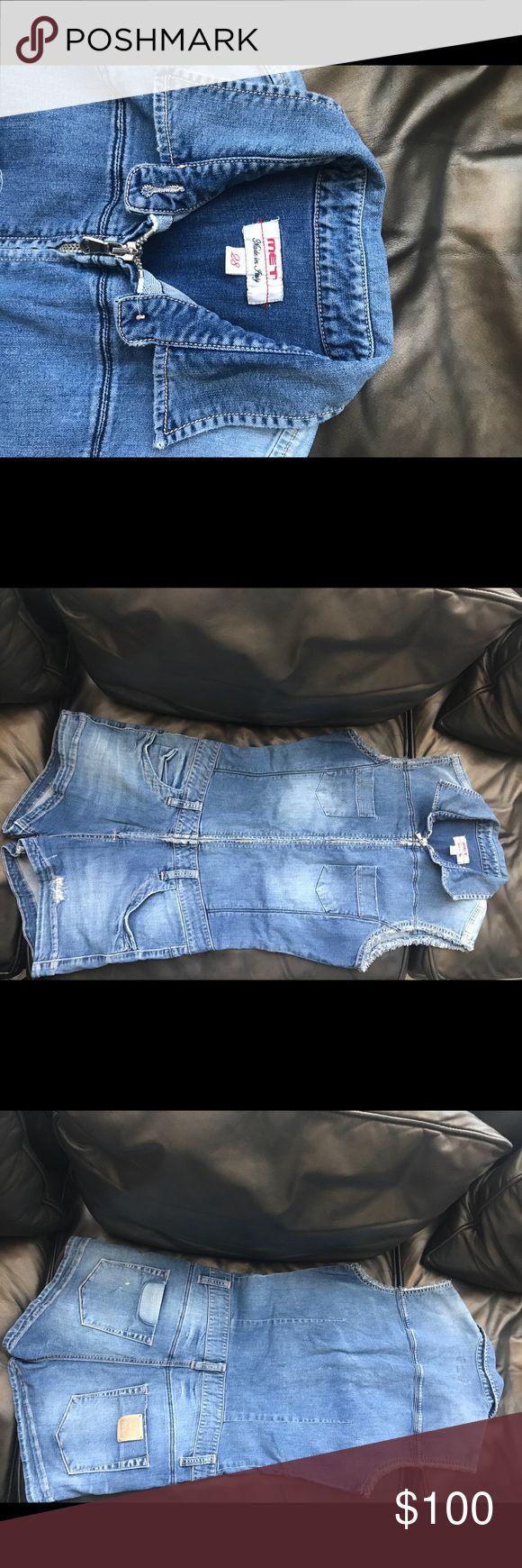 """Blue Denim Zip Up West Overall Excellent condition ! Italian Denim """"Met"""". Italian size 28.Us size 4-6. met Jeans Overalls"""