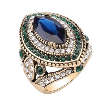 Роскошный Большой Сапфир Ювелирные Изделия Старинные Обручальные Кольца Для Женщин Позолота Мозаики Зеленый Кристалл 2016 Новая Мода Аксессуары